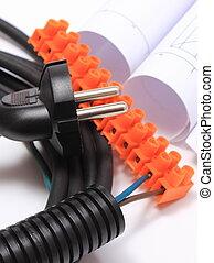 Componentes para instalaciones eléctricas y rollos de diagramas