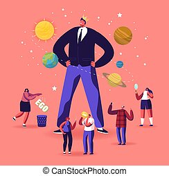 comportamiento, cabeza, macho, narcisista, caracteres, hembra, concept., corona, ego, egocéntrico, alrededor, amor, macho, sí mismo, diminuto, inmenso