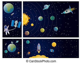 Composición colorida del sistema solar plano
