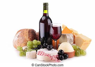 Composición con vino, queso y pan