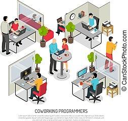 composición, coworking, programadores, isométrico, espacio