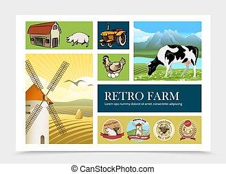 Composición de granja retro dibujada a mano