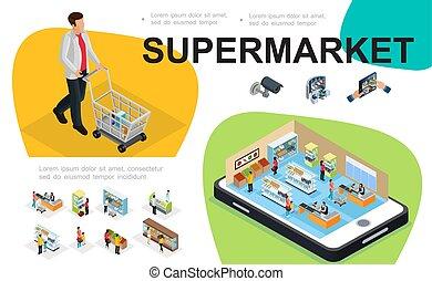 Composición del supermercado isométrico