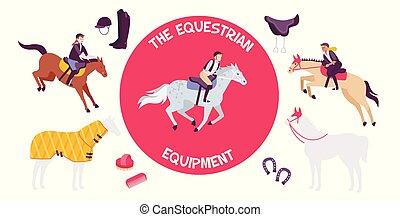 composición, equipo, caballo