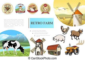 Composición retro de granja