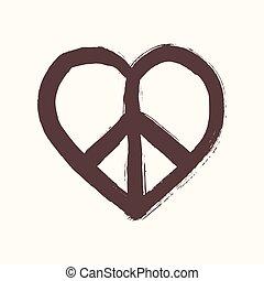 composition., corazón, estilo, eps10, archivo, capas, símbolo, paz, organizado, aislado, forma, editing., vector, cepillo, fácil
