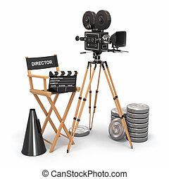 composition., director película, cámara, vendimia, reels., silla