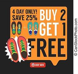 Compra 2 consigue 1 tenis gratis ilustración de vectores de promoción de campaña