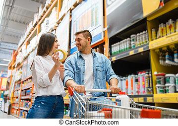 compra, carrito, materiales, pareja, edificio