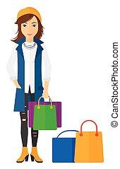 Comprador con bolsas de compras.