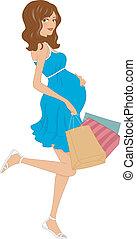 comprador, embarazada