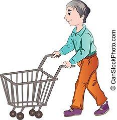 Comprador masculino, ilustración