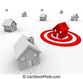 compradores, blanco, casa, diana, -, uno, mercadotecnia