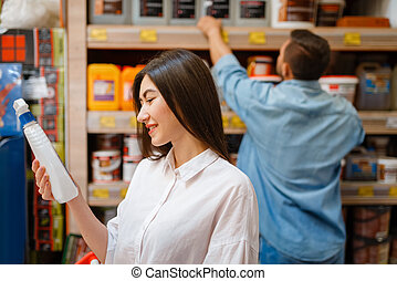 compradores, escoger, feliz, hardware, materiales, tienda