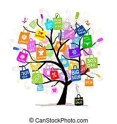 Comprando bolsas en el árbol para tu diseño, gran concepto de venta