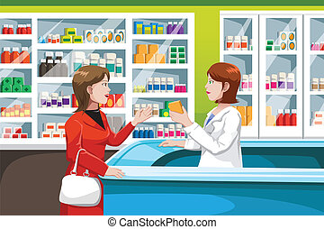Comprando medicinas en la farmacia