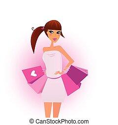 Comprar chicas con bolsas rosas