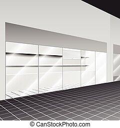 Comprar con stand y estantes en el pasillo