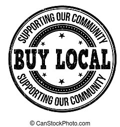 comprar, estampilla, local