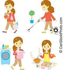 Comprar, limpiar, lavar, cocinar
