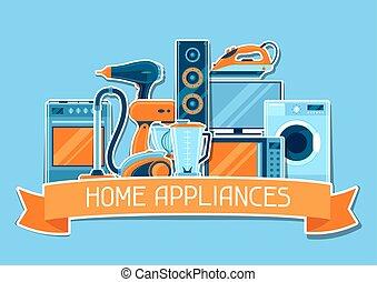 compras, artículos, casa, venta, appliances., publicidad, plano de fondo, cartel, hogar
