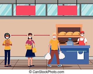 compras, cara, supermercado, gente, máscara