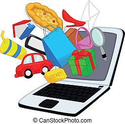compras, caricatura, en línea