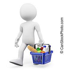 compras de comida, personas., sano, 3d, blanco