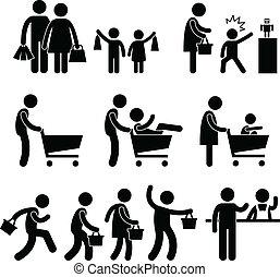 compras de la familia, venta, comprador, gente