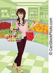 compras de la tienda de comestibles, mujer