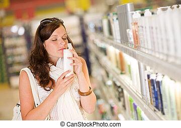compras de mujer, champú, -, cosméticos, oler