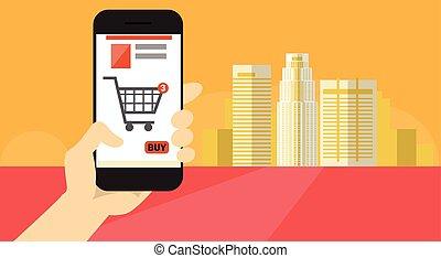 compras, elegante, bandera, en línea, célula, asimiento, mano, teléfono, aplicación