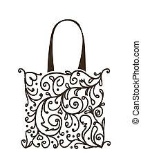 compras, floral, bolsa, diseño, ornamento