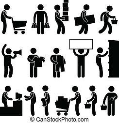 compras, gente, venta, carrito, cola, hombre