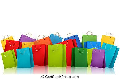 compras, illustration., colorido, concept., descuento, vector, plano de fondo, bags.