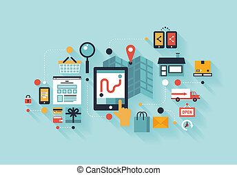 compras, ilustración, móvil, concepto