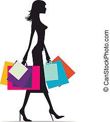 compras, mujer, silueta