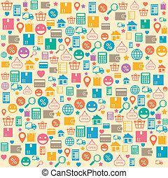 compras, patrón, seamless, plano de fondo, en línea, ecommerce