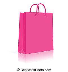 compras, pink., soga, bolsa, vector, papel, blanco, handles.
