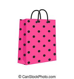 compras, rosa, aislado, soga, bolsa, papel, vector, blanco, handles., black.