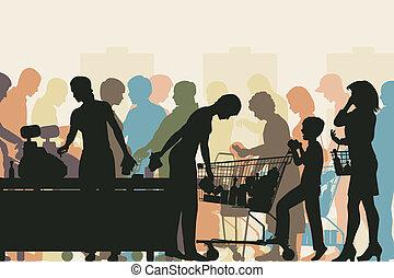 compruebe, supermercado