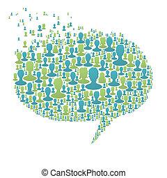 compuesto, burbuja, gente, concepto, muchos, discurso, eps8, social, vector, silhouettes., red