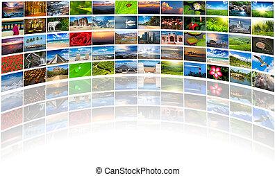 compuesto, muchos, resumen, multimedia, plano de fondo, imágenes, copia