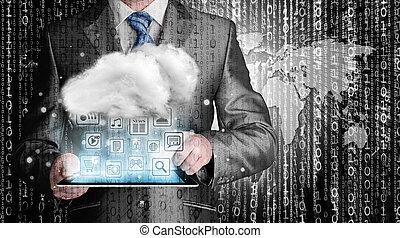 Computación de nubes, concepto de conectividad tecnológica