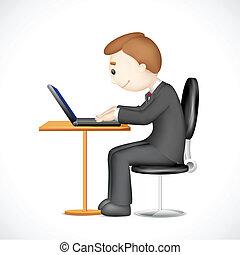 computador portatil, 3d, trabajando, hombre