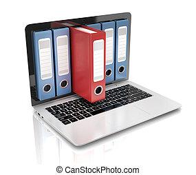 computador portatil, -, anillo, archivo, base de datos