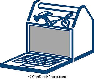 computador portatil, caja de herramientas