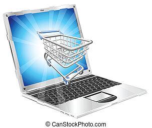 computador portatil, concepto, compras, internet