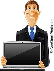 computador portatil, guapo, hombre