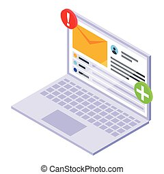 computador portatil, icono, correo, isométrico, vector., notificación, email